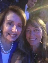 Julie Baker, CFTA ED talks art with Nancy Pelosi, Speaker of the House at the San Francisco Jazz Gala.